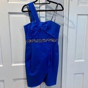 One shoulder Blue Cocktail Dress